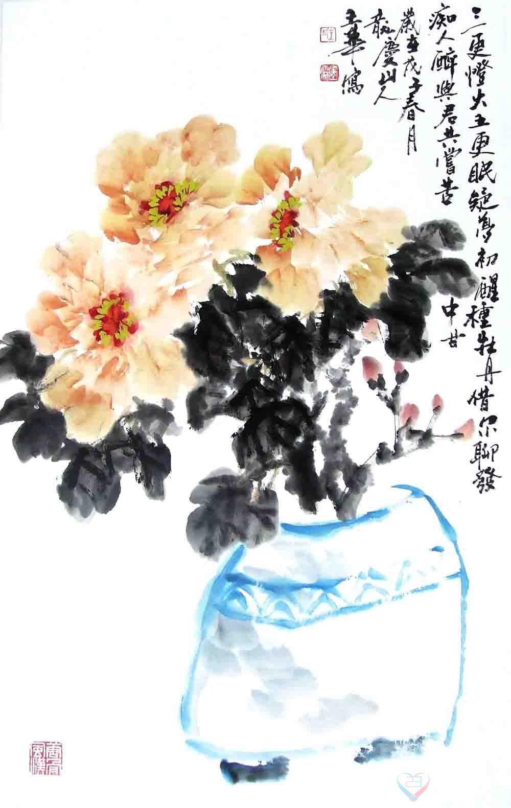 水墨画画牡丹花-国画牡丹